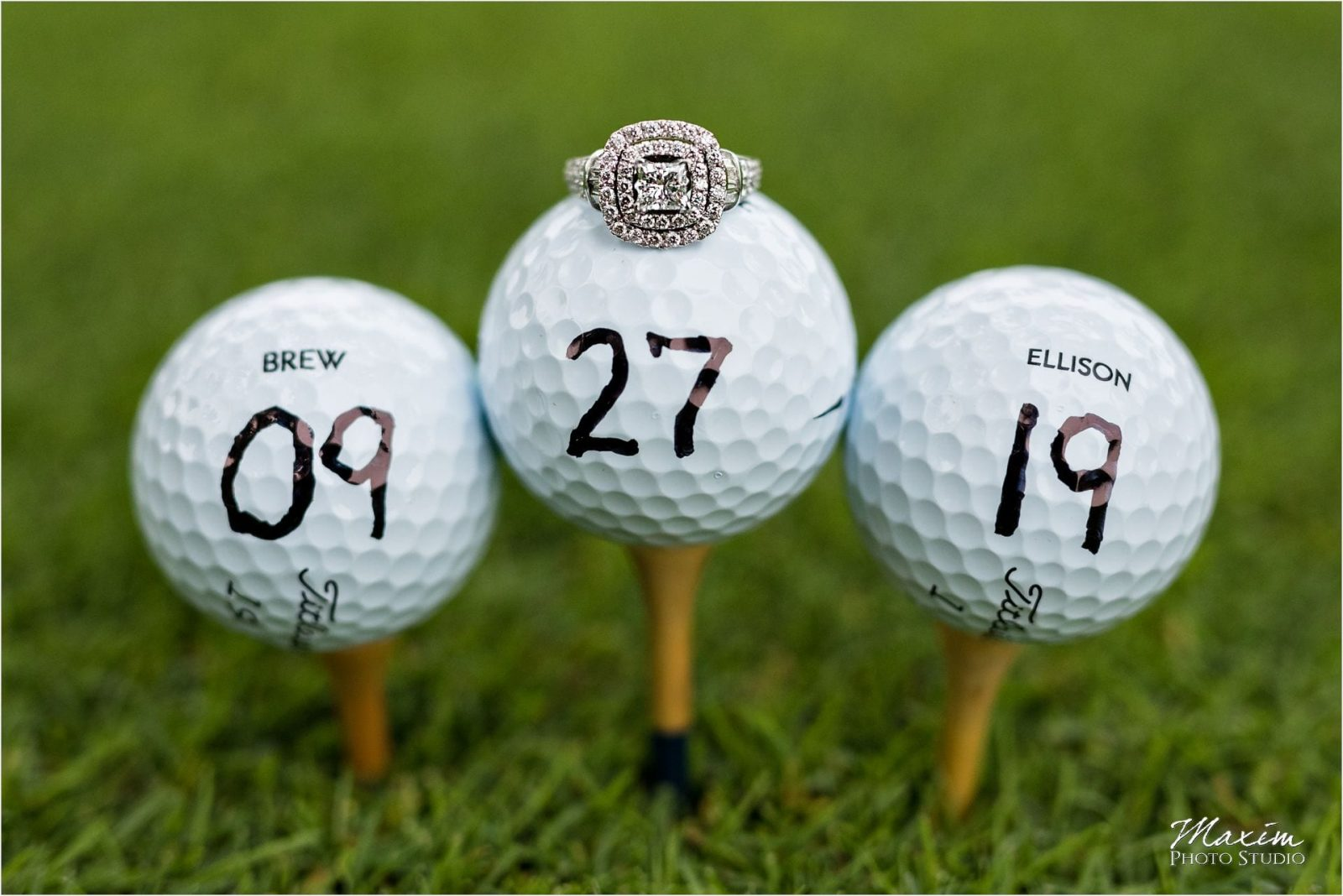 Wedding Rings golf ball, Cincinnati Country Club, Golf Engagement
