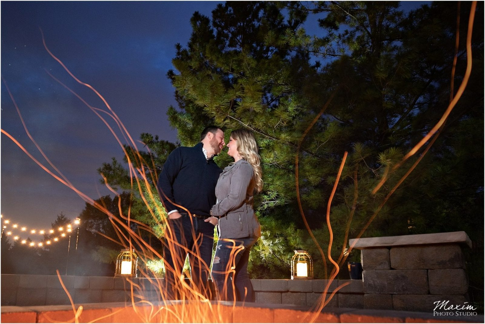 Dayton Engagement Photographer, Firepit, engagement Couple, Sunset engagement