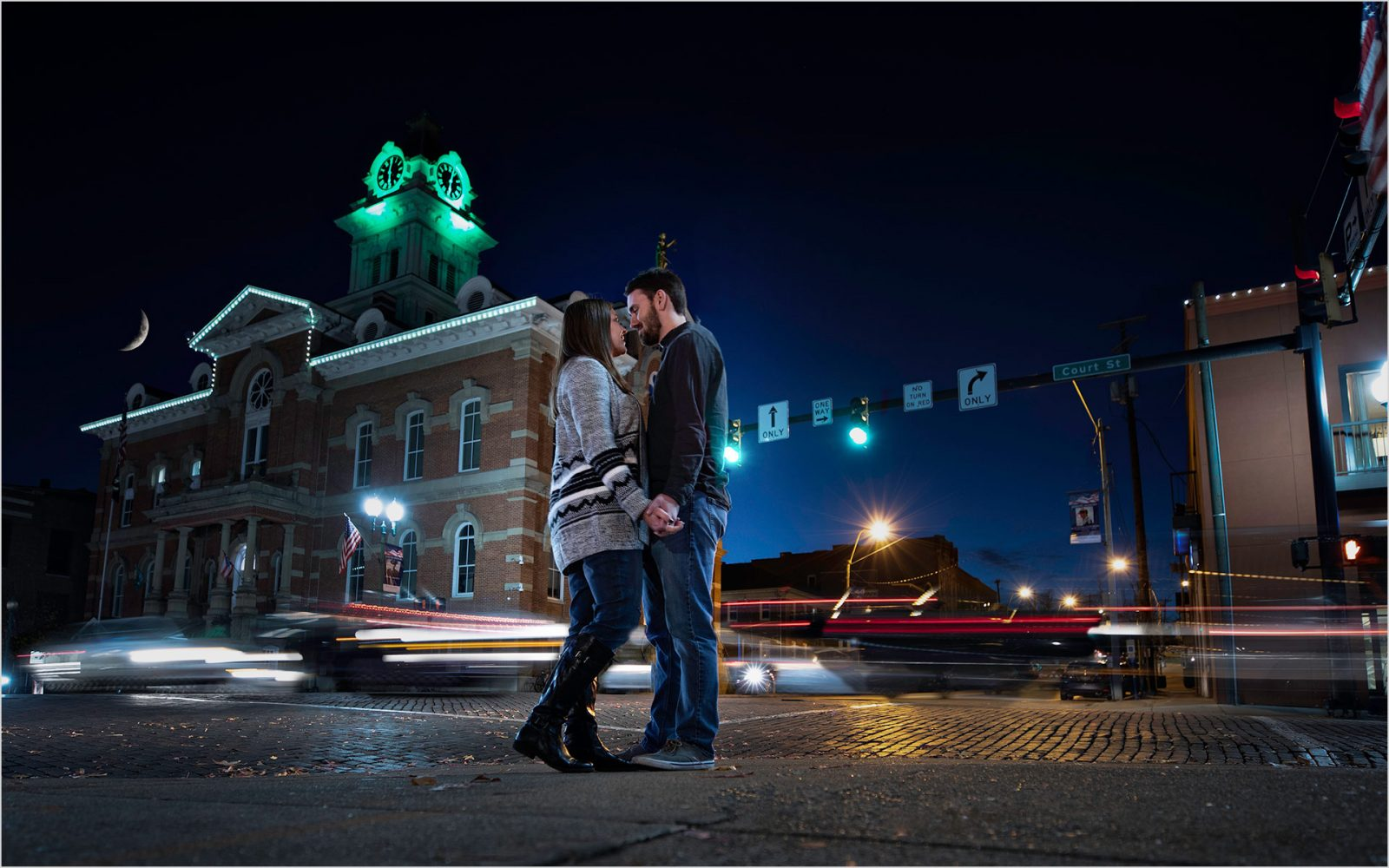 Ohio University Engagement, Fall Ohio Engagement, Downtown Athens Ohio night engagement