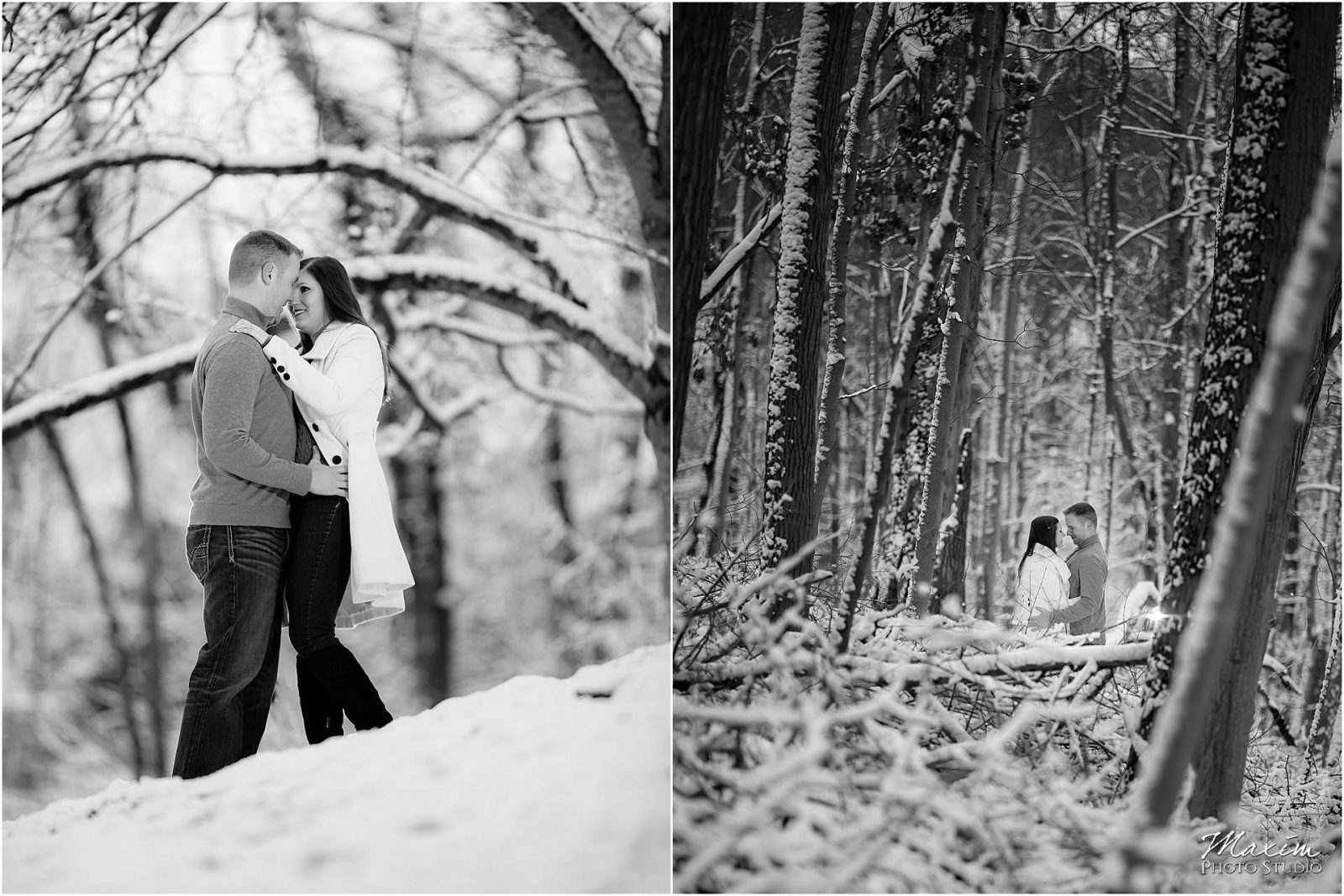 Ault park Cincinnati snow engagement