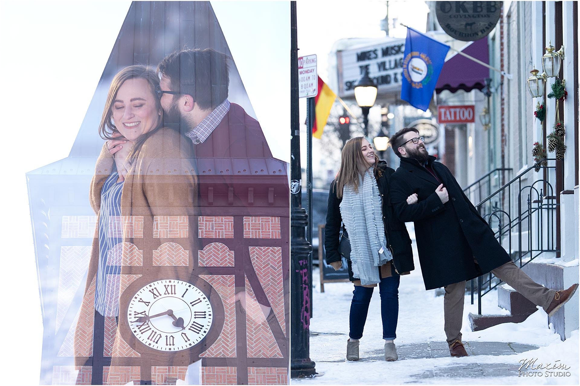 Covington Kentucky snow Engagement, Covington tower