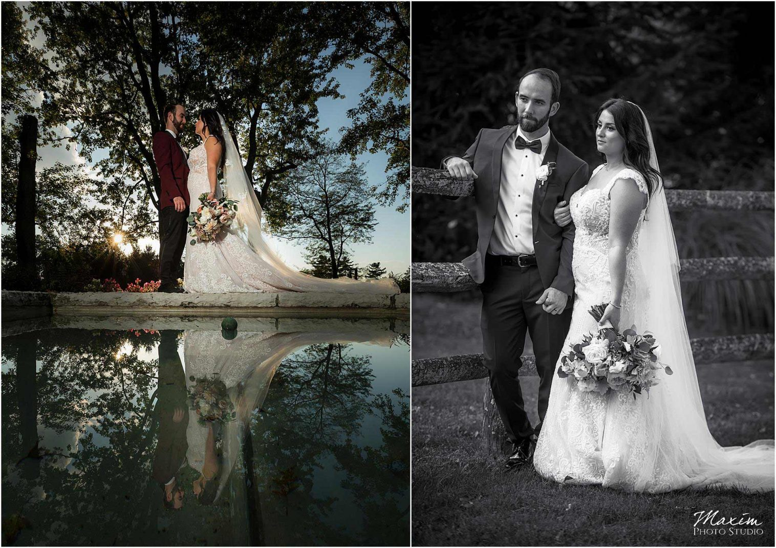 Greenacres Art Center Wedding Portraits, Reflection