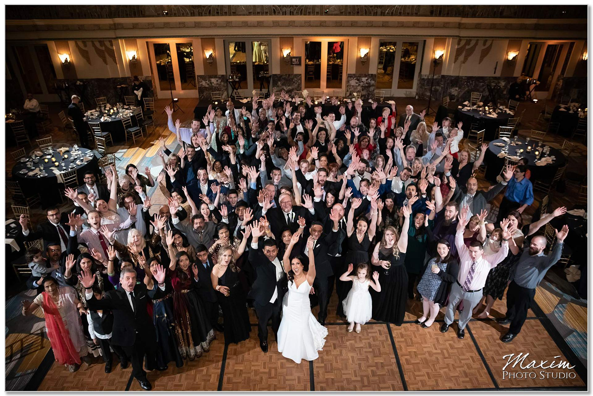 Hilton Netherland Plaza wedding Reception Group Photo