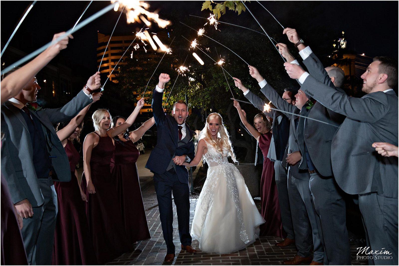 Kentucky Wedding Photographers, Millionaires Row Kentucky Wedding, Bride Groom Wedding Sparklers