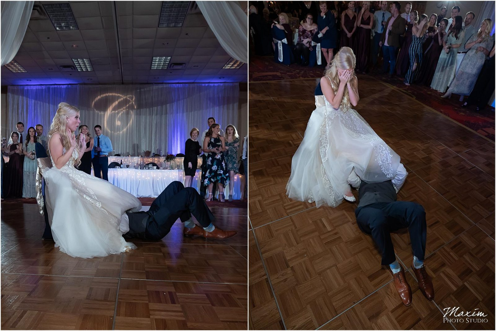 Holiday Inn Airport Wedding, Kentucky Wedding Photographer, Wedding Reception, Garter Removal