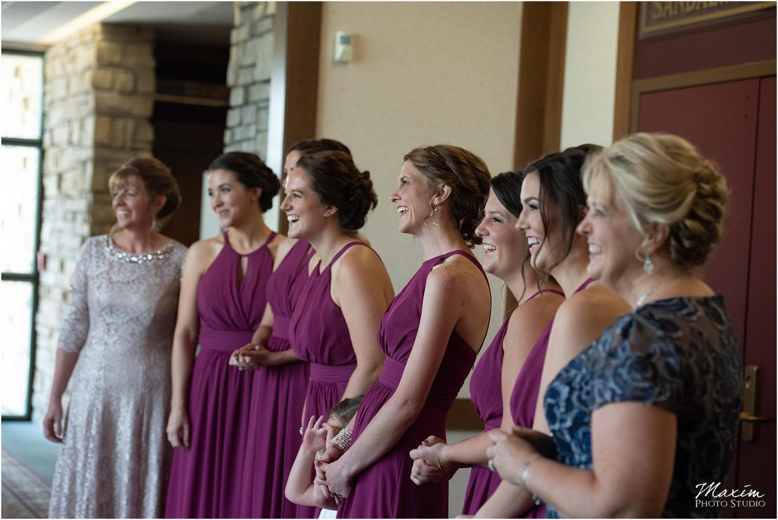 Oasis Conference Center, Cincinnati Wedding Photography, Bride reveal bridesmaids