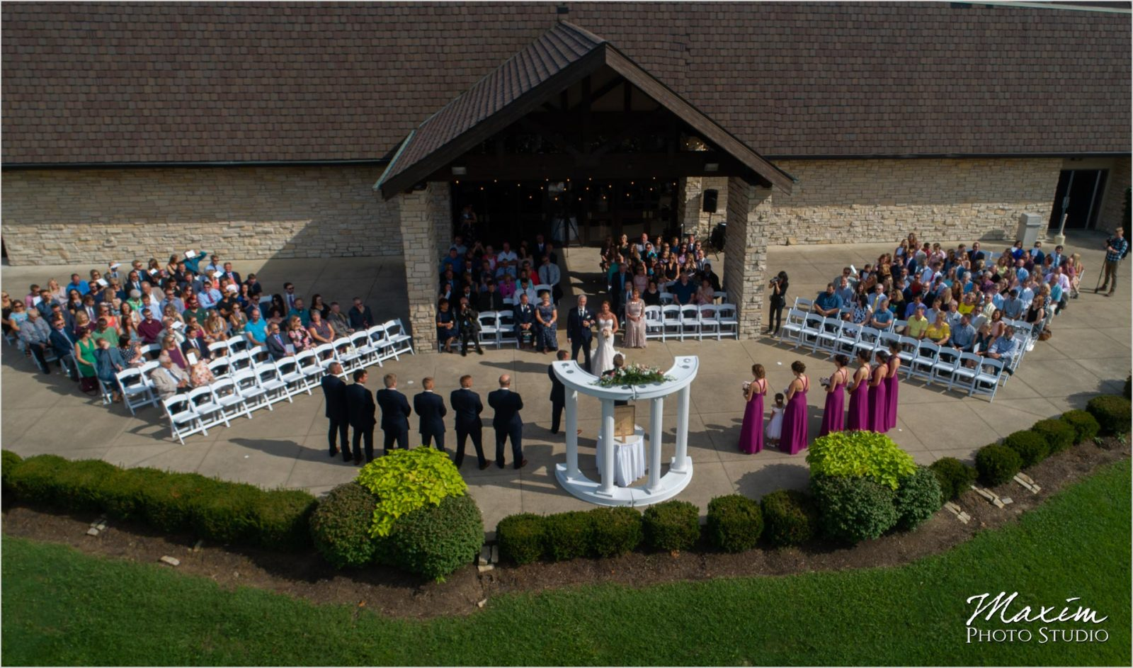 Oasis Conference Center, Cincinnati Wedding Photography, Wedding Ceremony, Drone photography