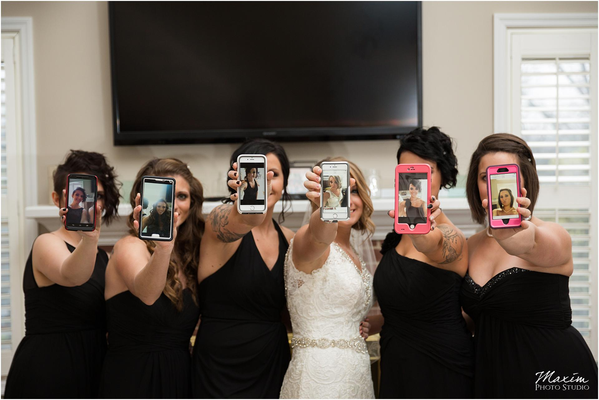 Canopy Creek Wedding Cell phone bridesmaids