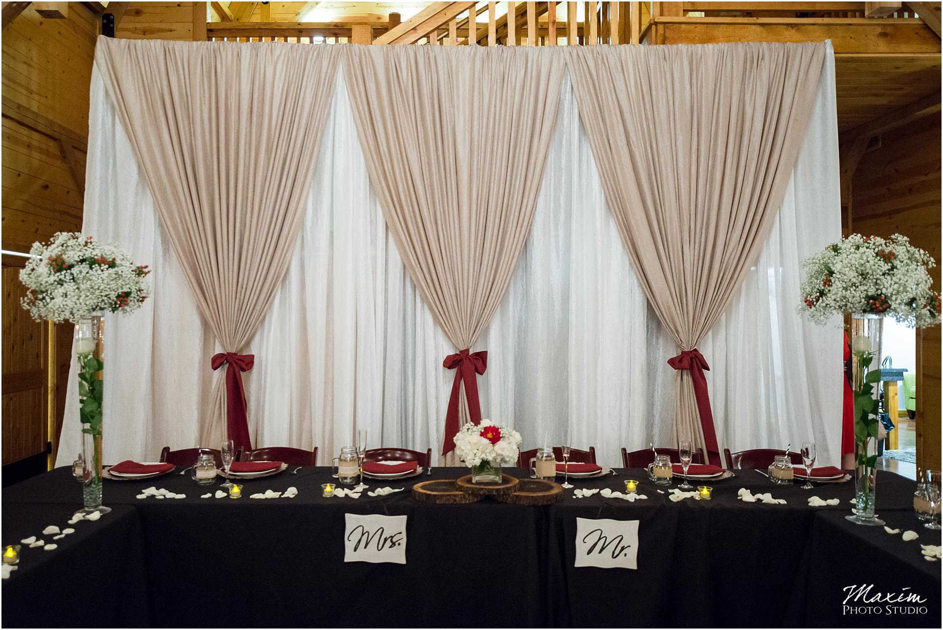 Canopy Creek Dayton Ohio Wedding Reception Bridal party table