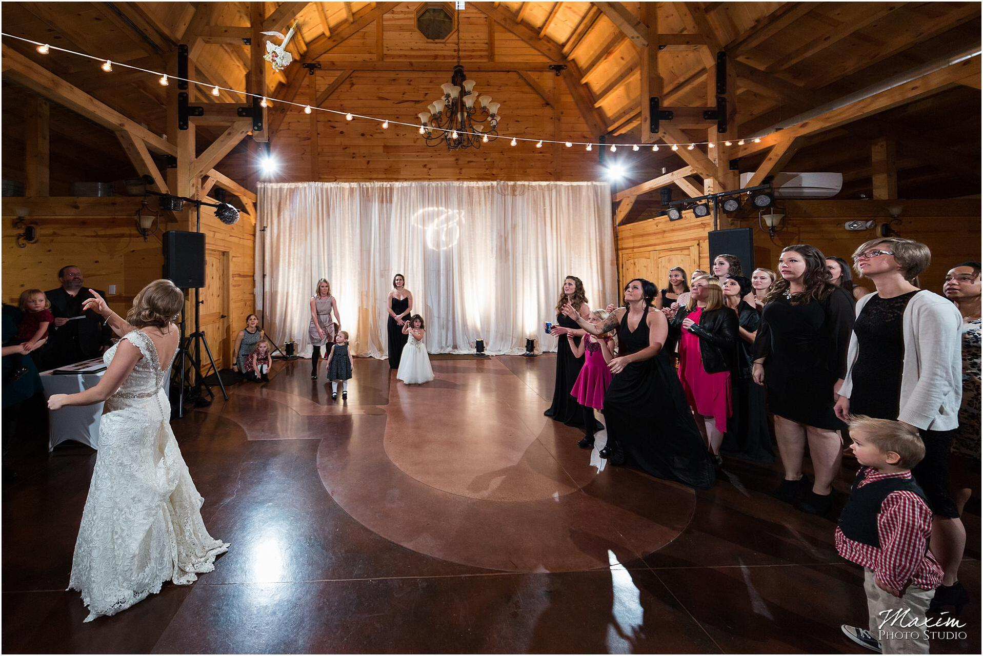 Canopy Creek Dayton Ohio Wedding Reception Bouquet Toss