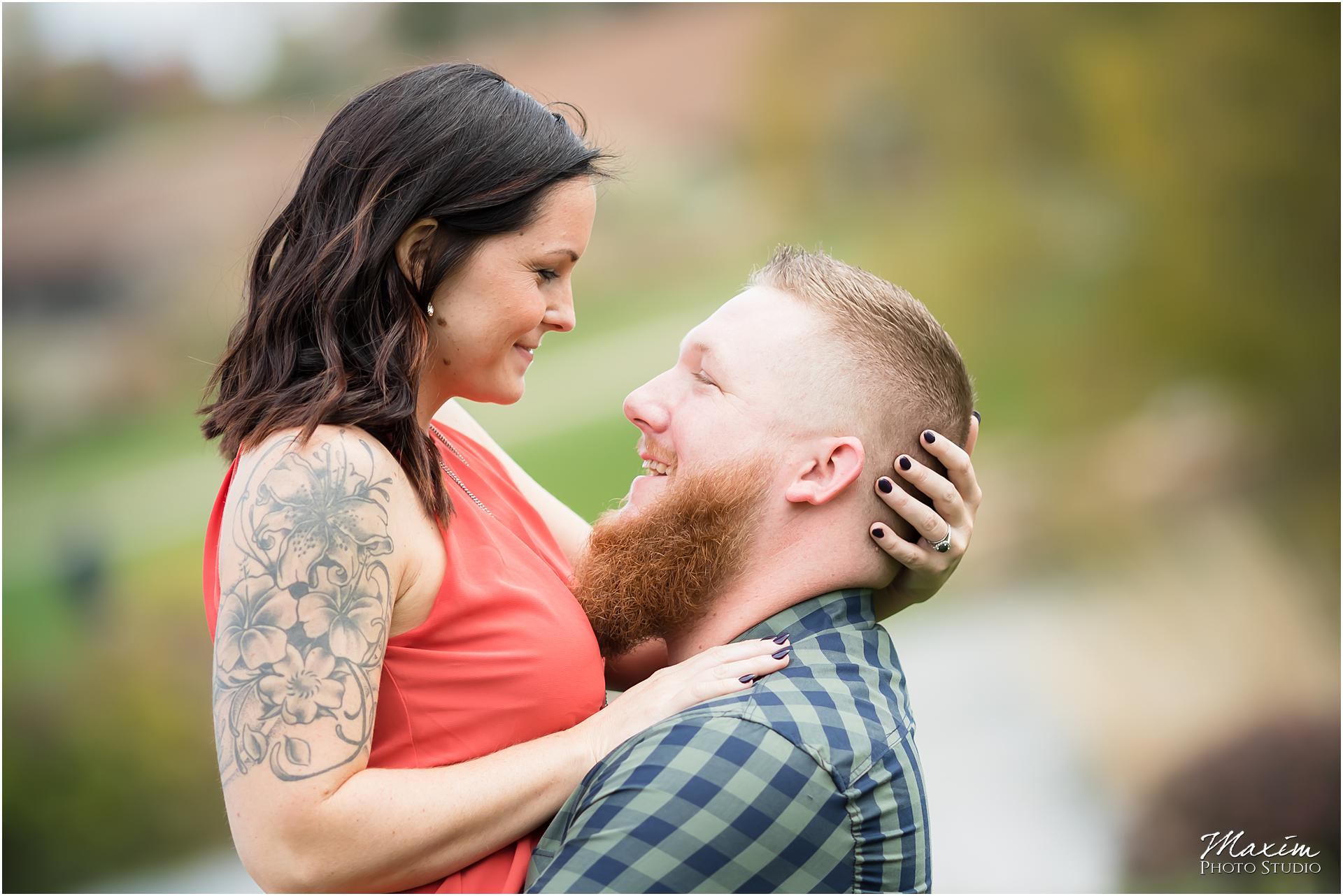 Cox Arboretum Dayton Ohio engagement couple tattoo