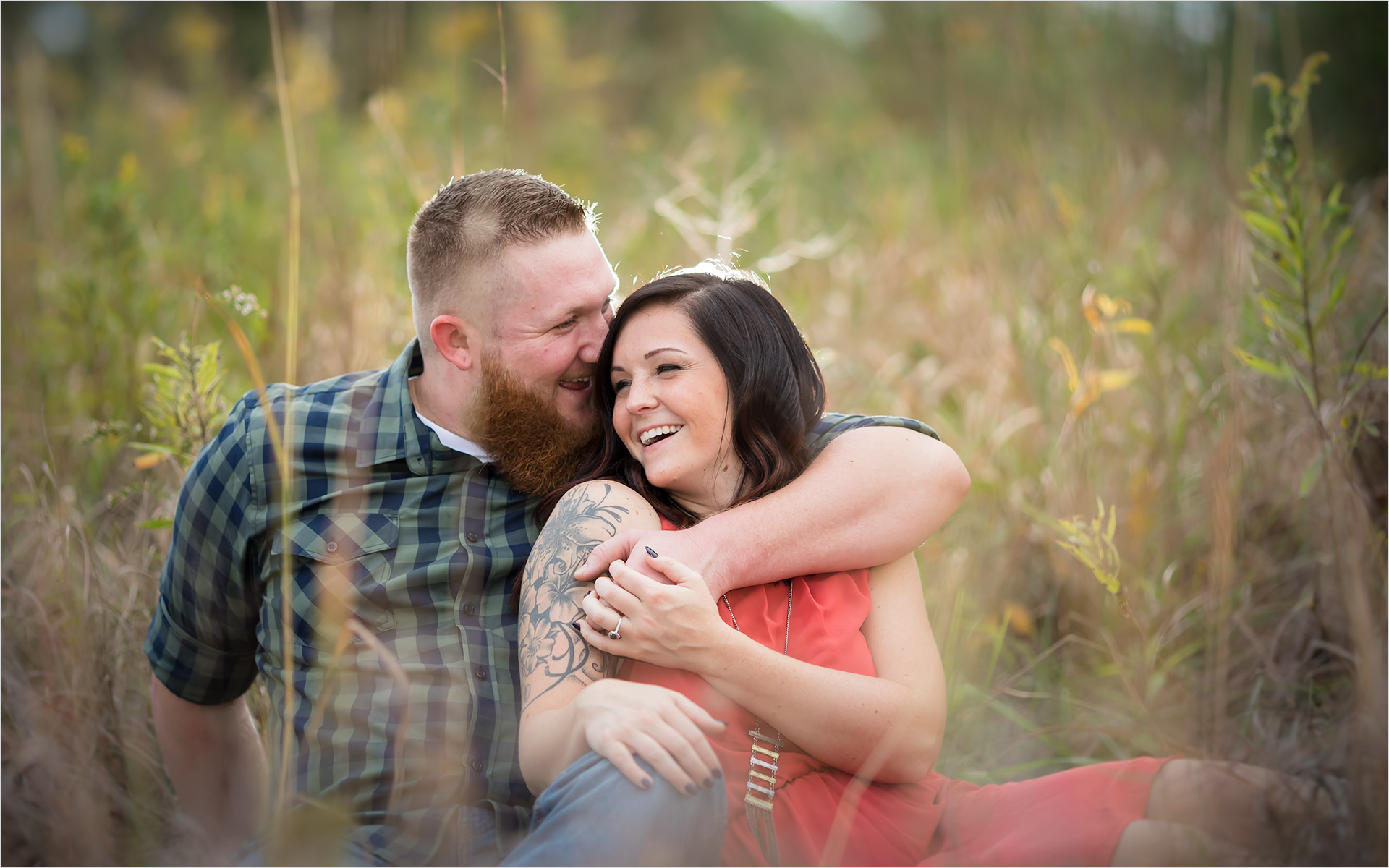 Cox Arboretum Dayton Ohio engagement couple sitting