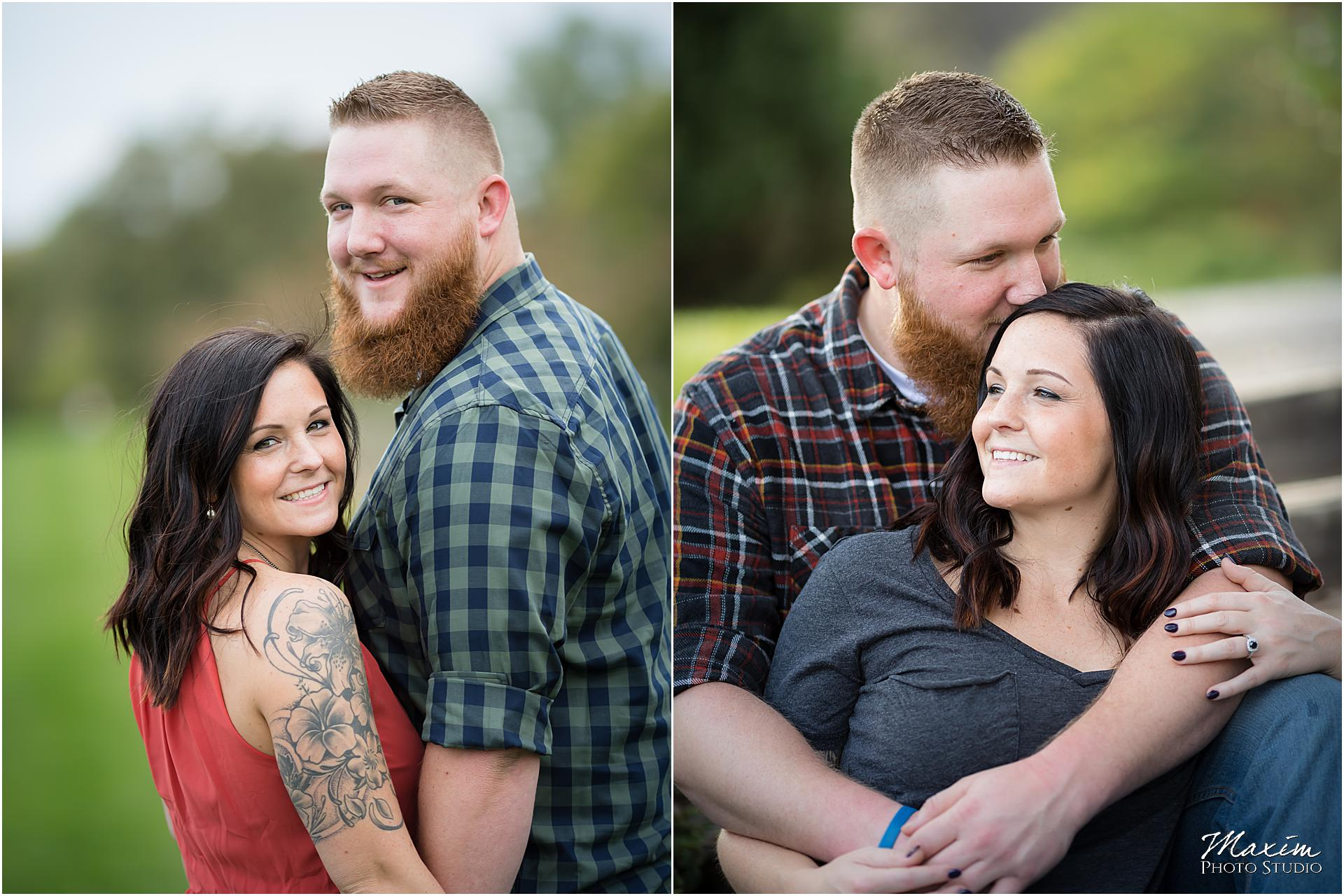 Cox Arboretum Dayton Ohio engagement couple intimate moment