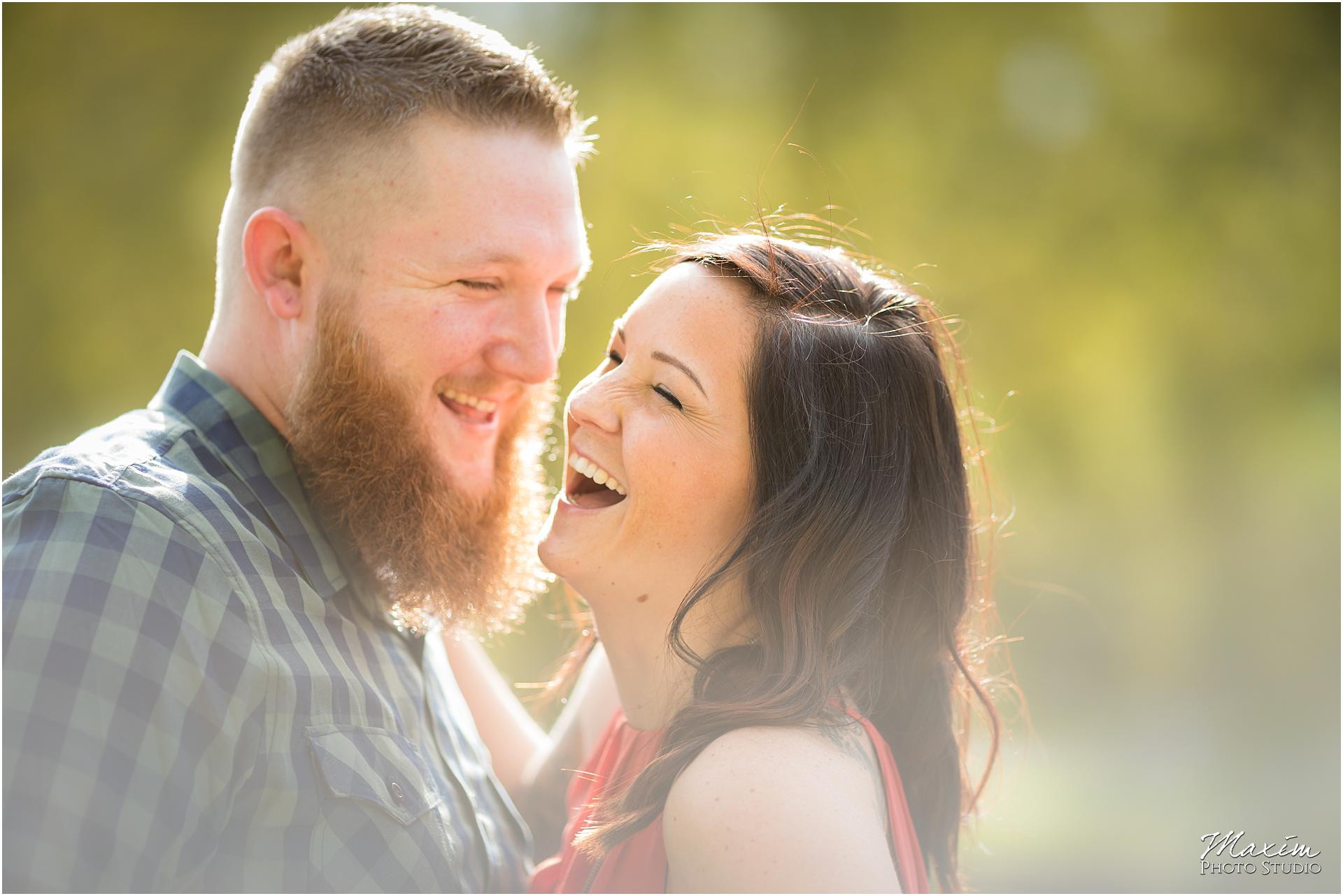 Cox Arboretum Dayton Ohio engagement couple laughing