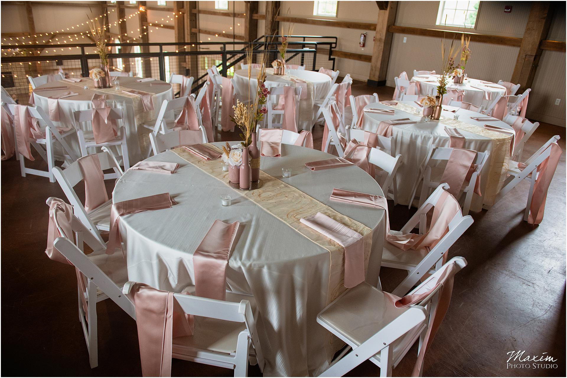 Muhlhauser Barn Wedding Reception table setup