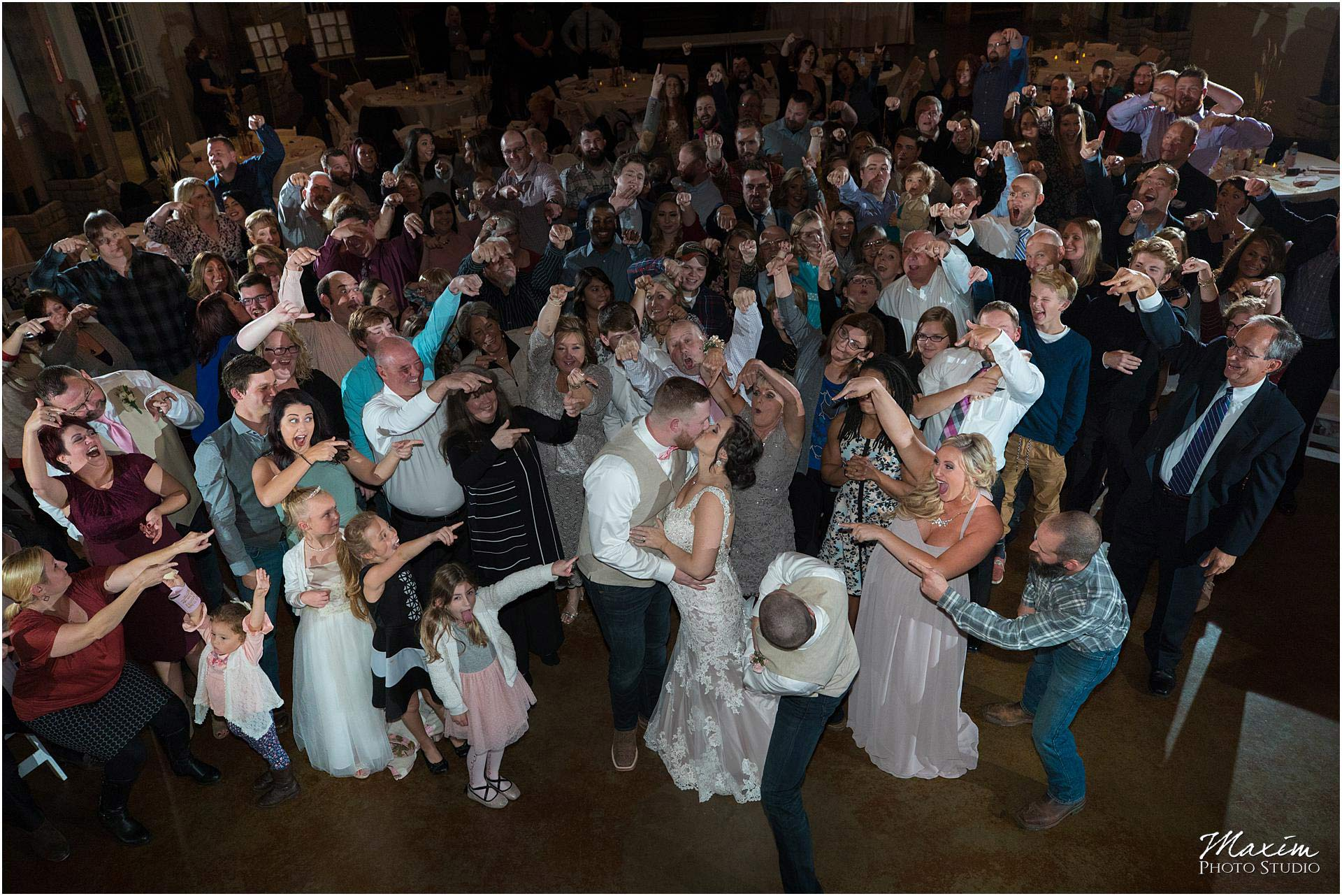 Muhlhauser Barn Wedding Reception Group Photo