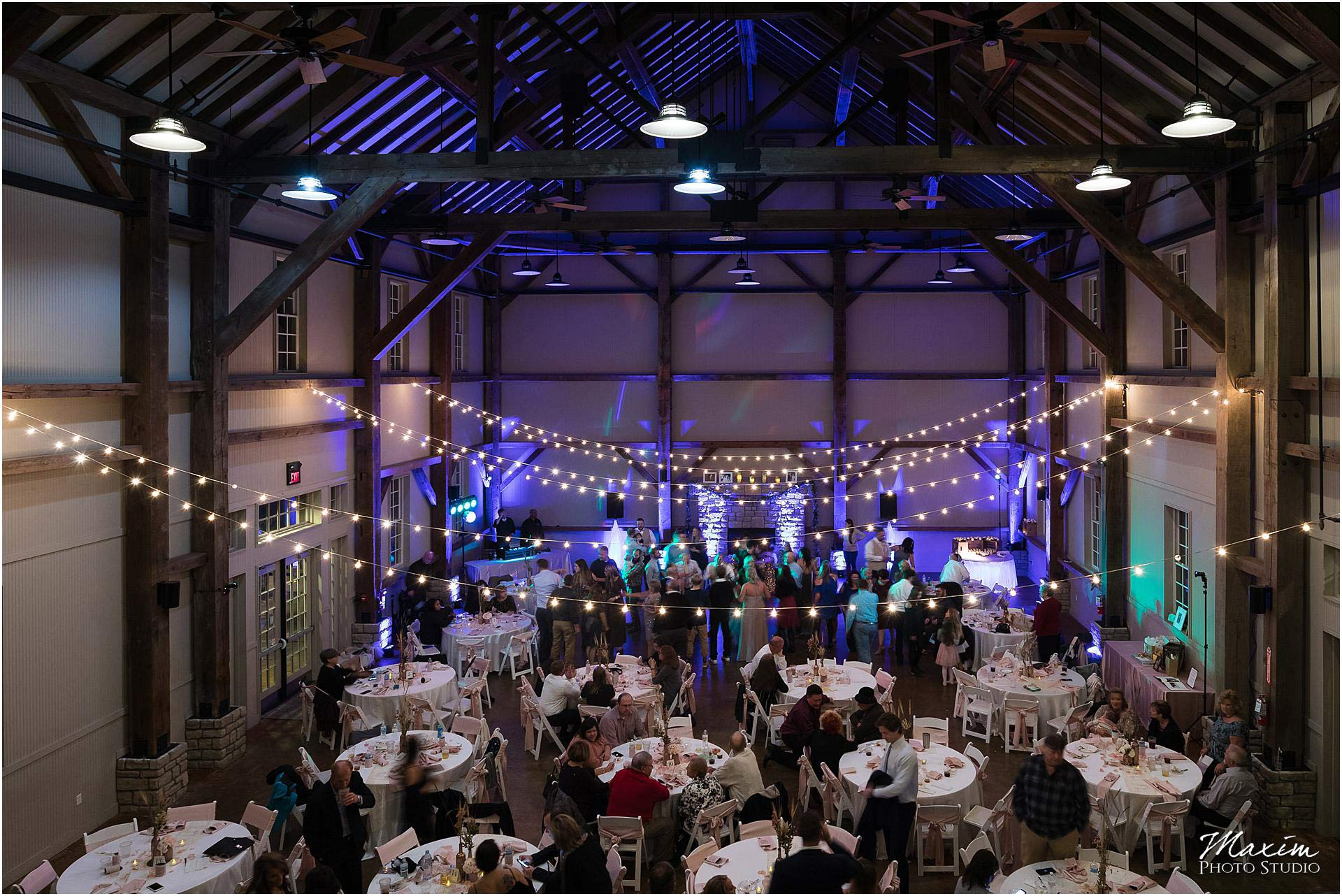Muhlhauser Barn Wedding Reception bistro lighting