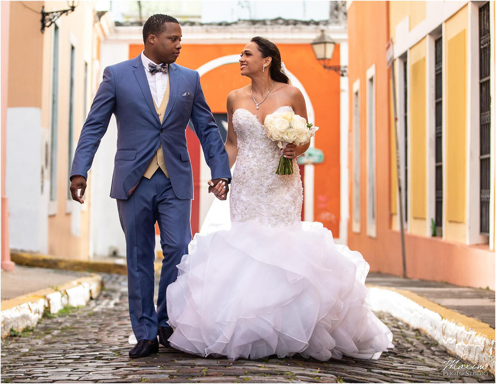 San Juan street Puerto Rico Bride Groom Destination Wedding Groom Bride