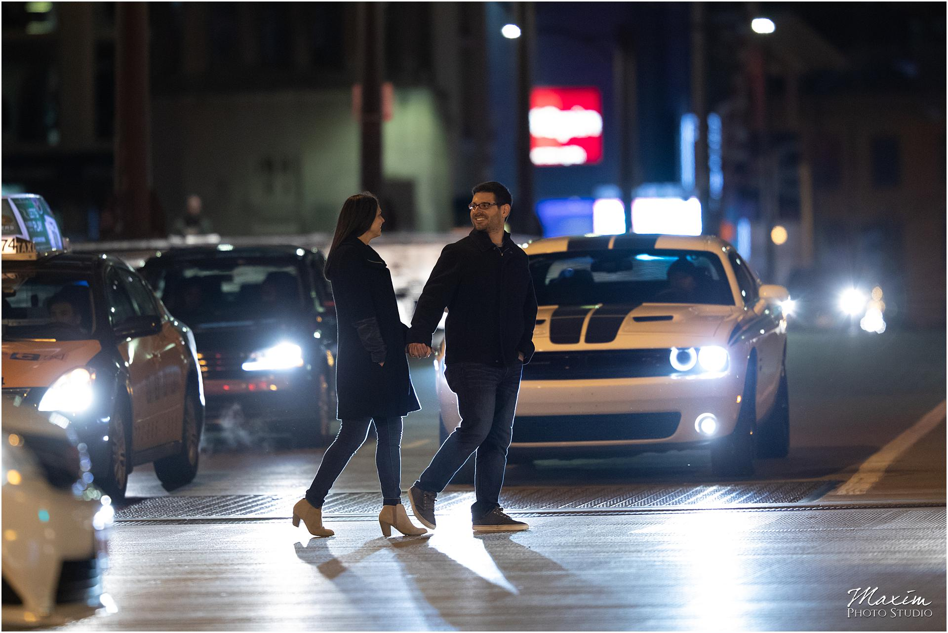 Downtown Chicago Night engagement