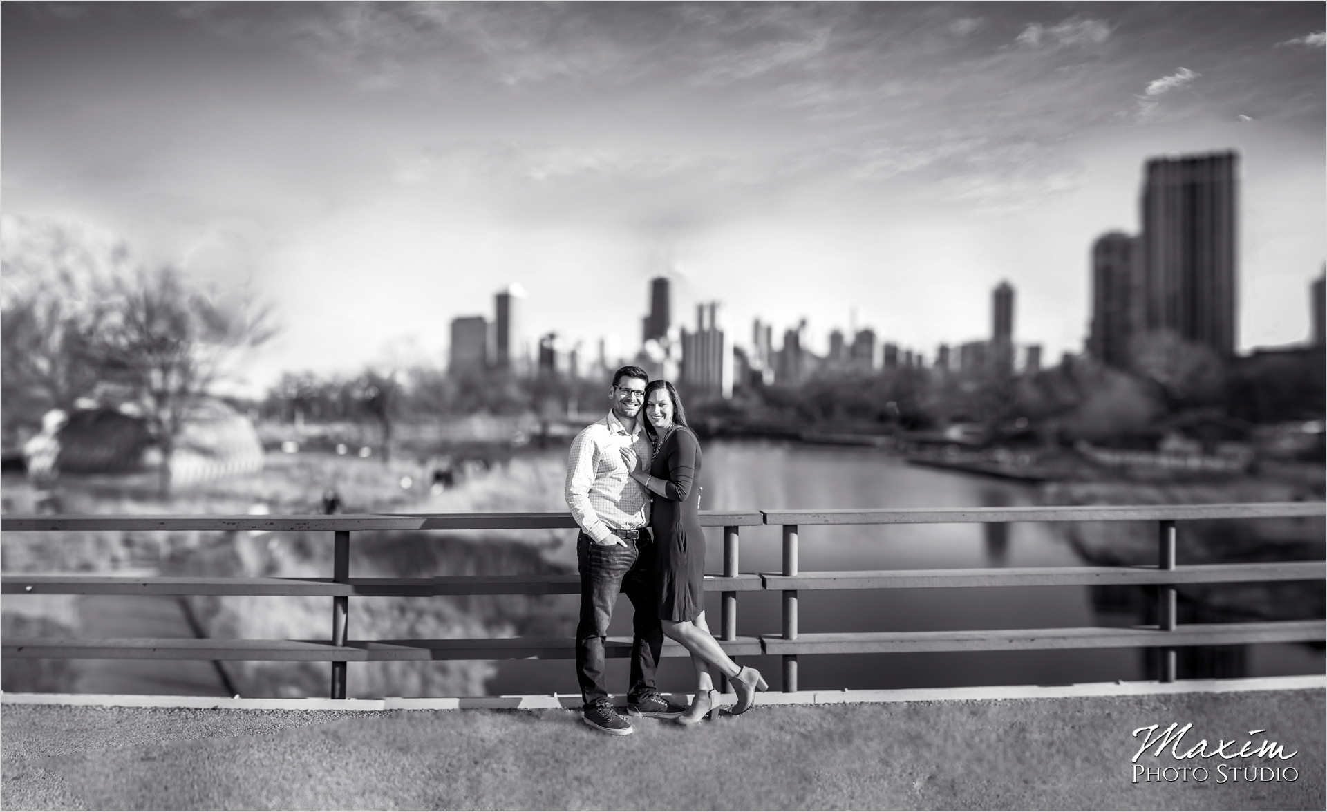 Bridge over South Pond Chicago Engagement Lincoln Park