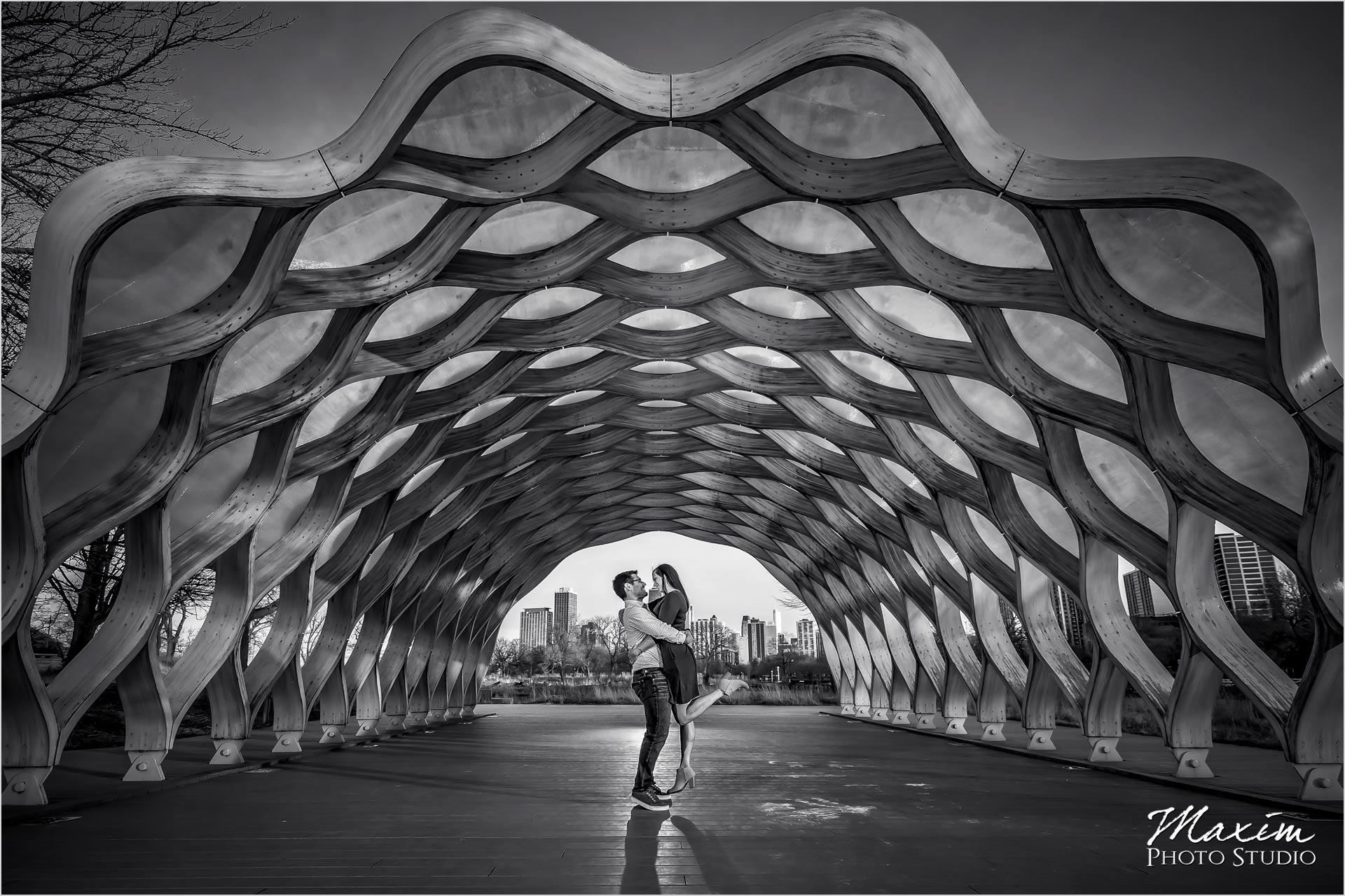 Wood Pavilion Lincoln Park Chicago Engagement