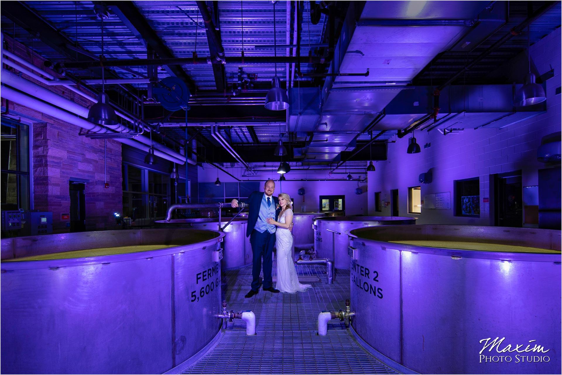 New Riff Brewery Wedding Couple purple room
