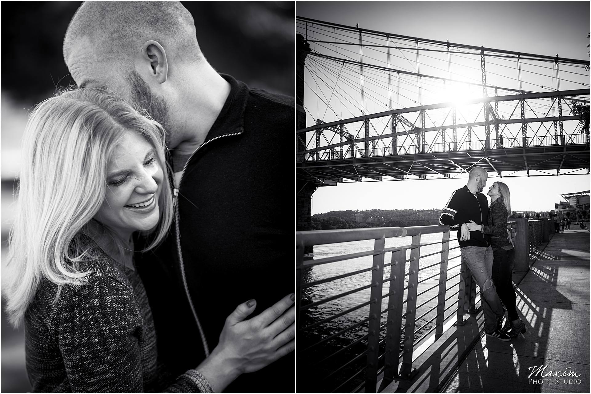 Engagement Roebling Bridge cincinnati photography