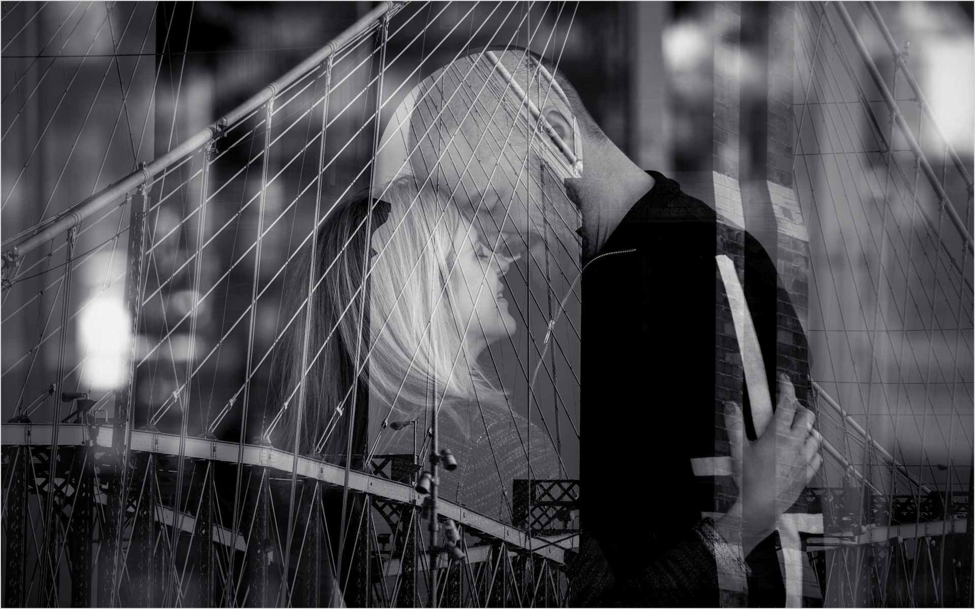 Roebling Bridge Engagement double exposure