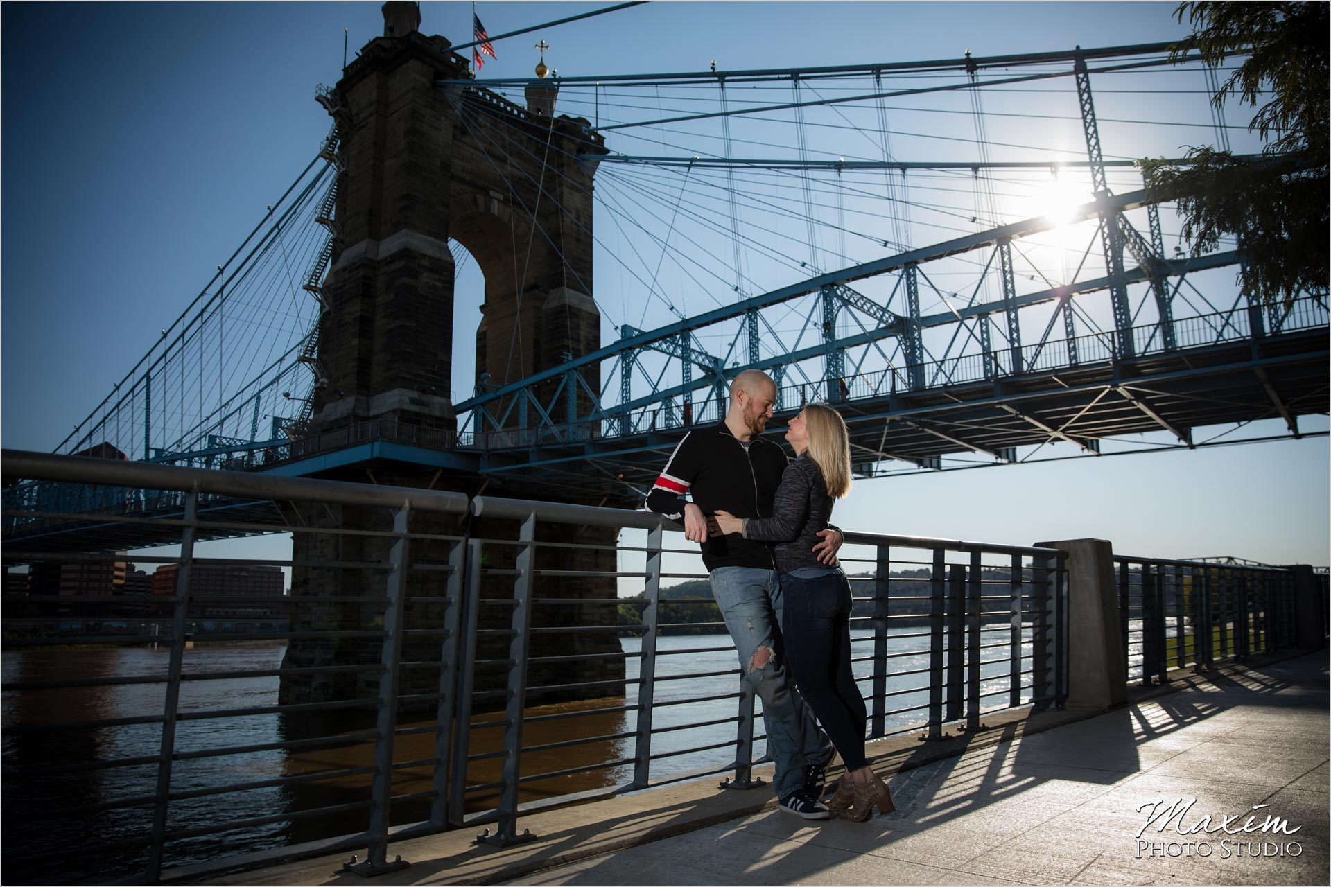 Smale Riverfront Roebling Bridge Engagement Sunburst