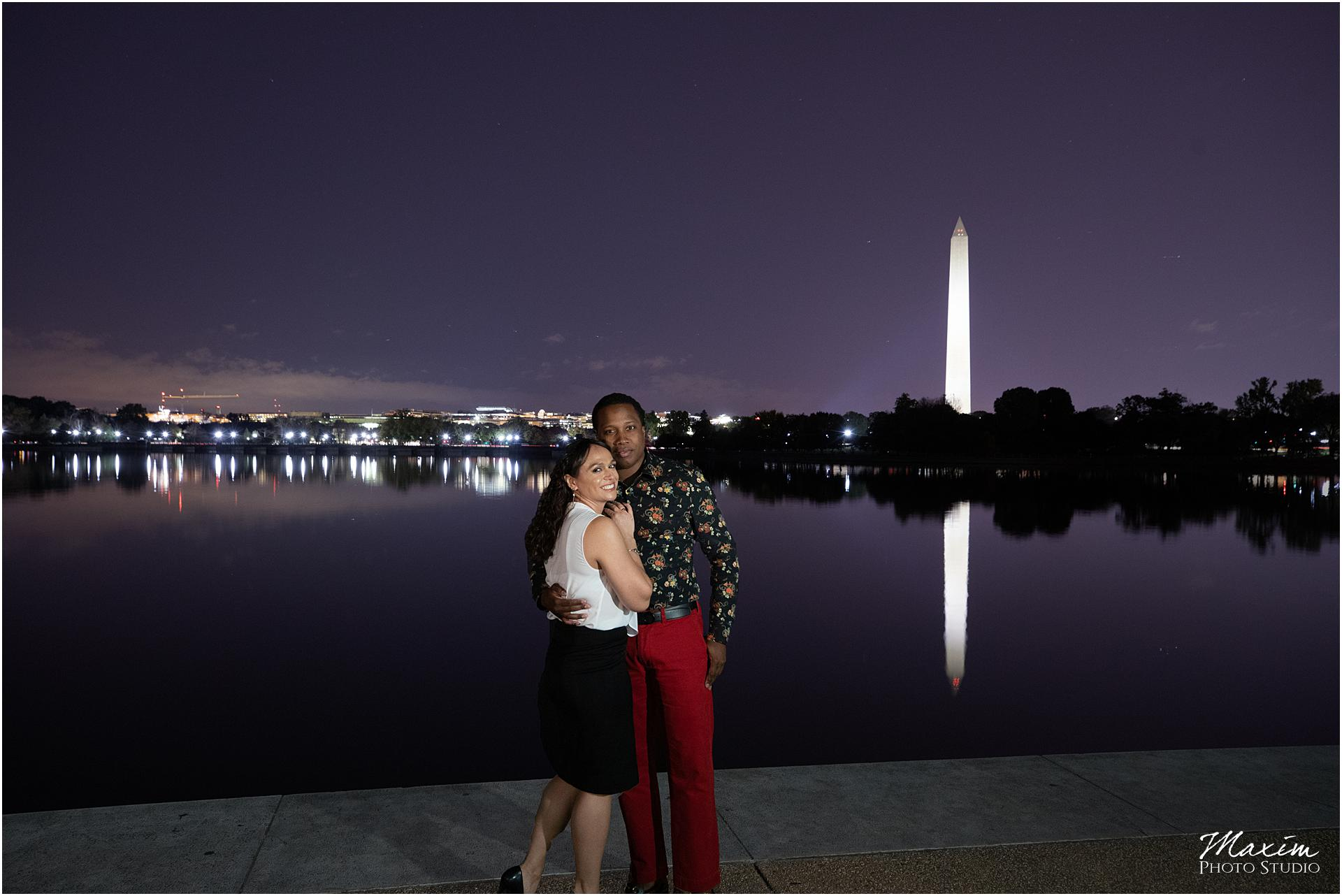 Washington Monument purple skies engagement photography