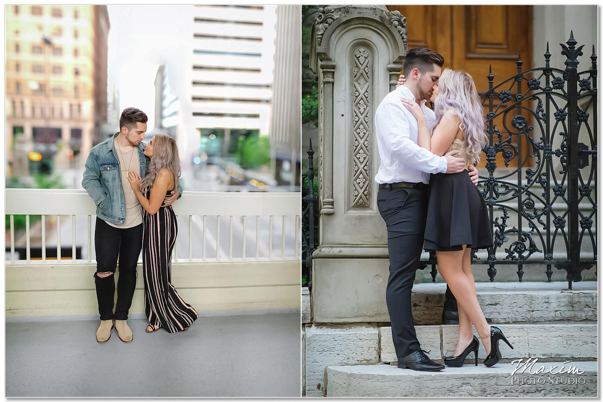 Downtown cincinnati engagement couple