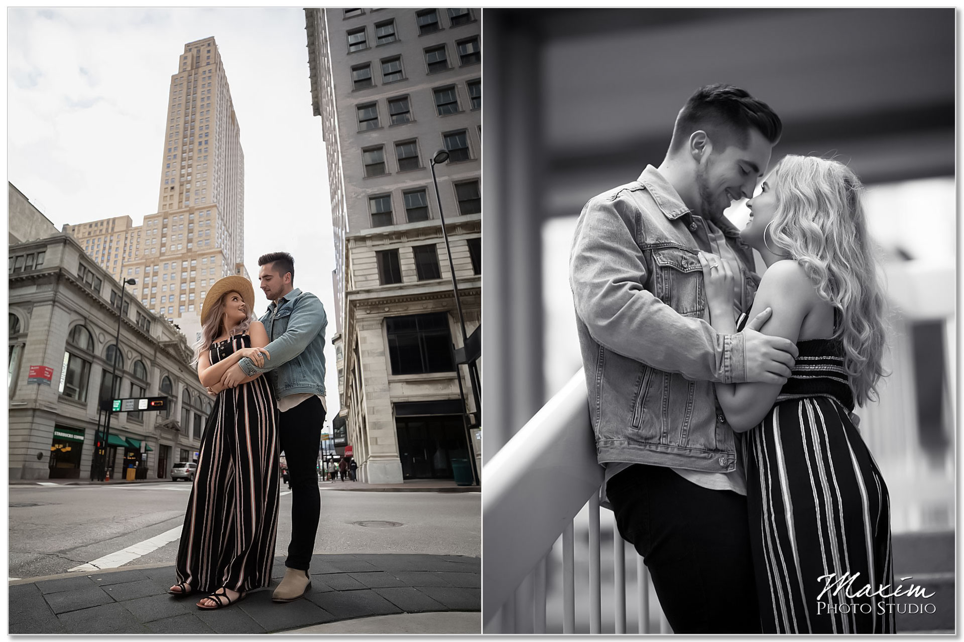 Fun Downtown cincinnati engagement couple