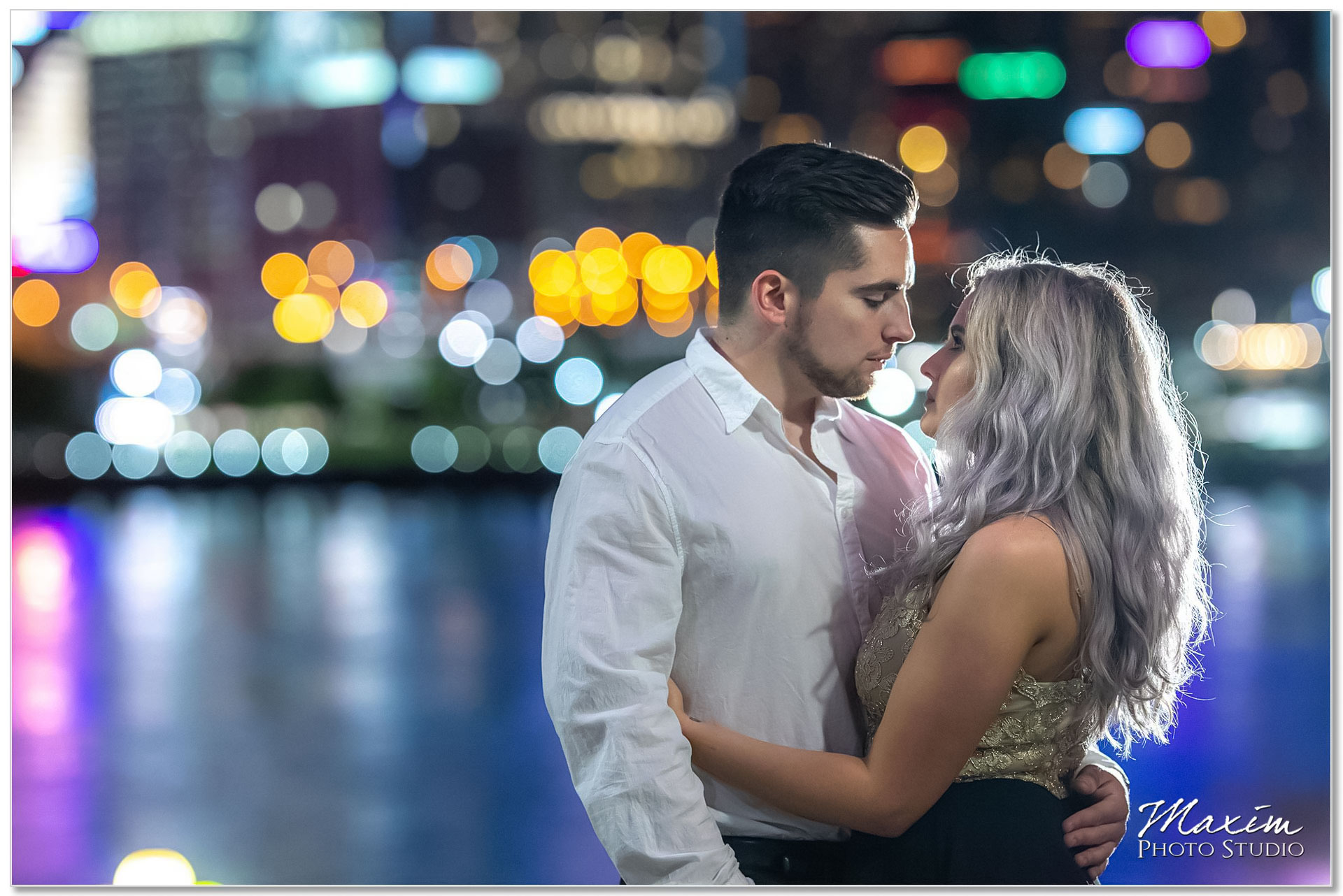 Romantic night Cincinnati engagement