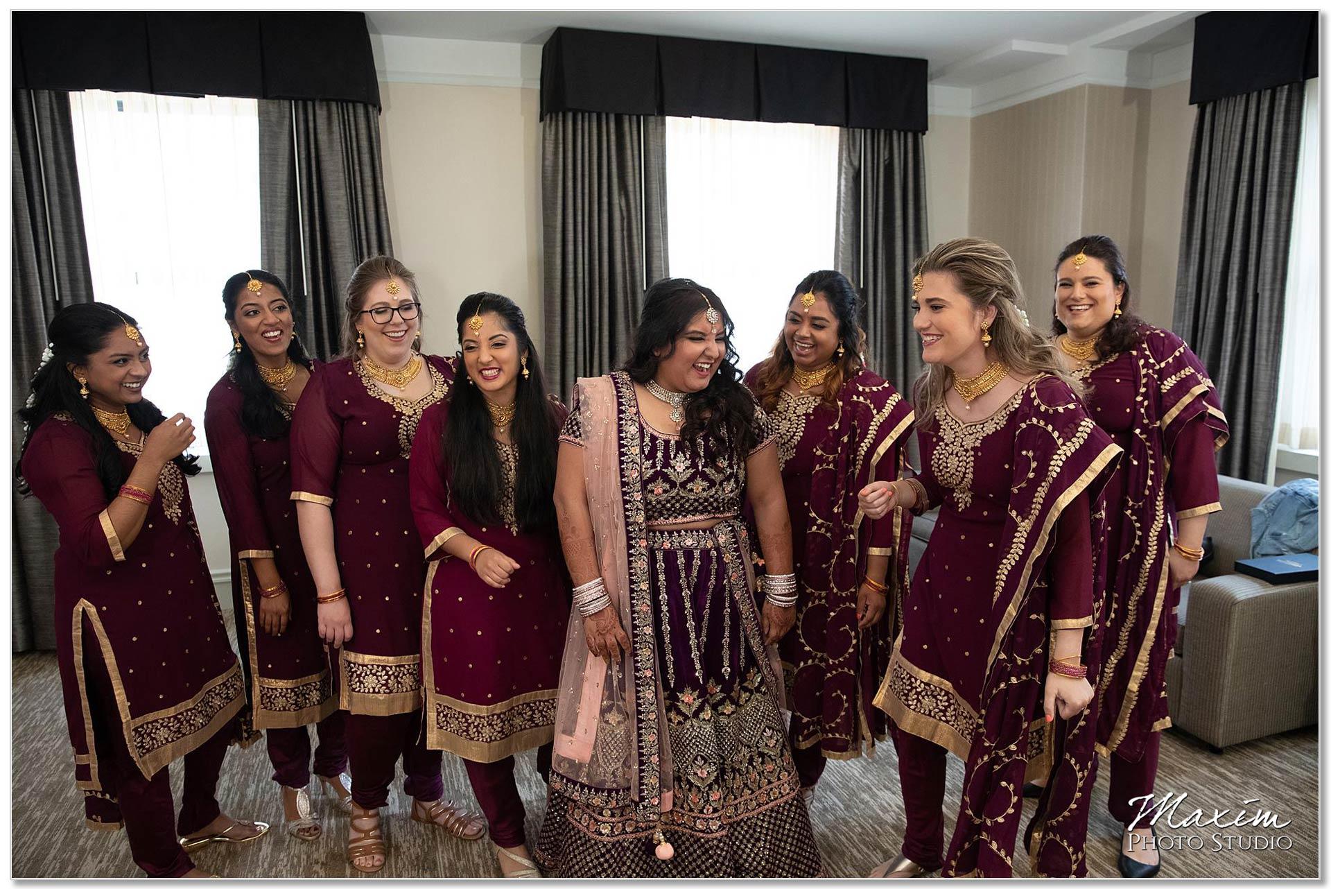 Hilton Netherland Plaza Indian wedding bridesmaids having fun