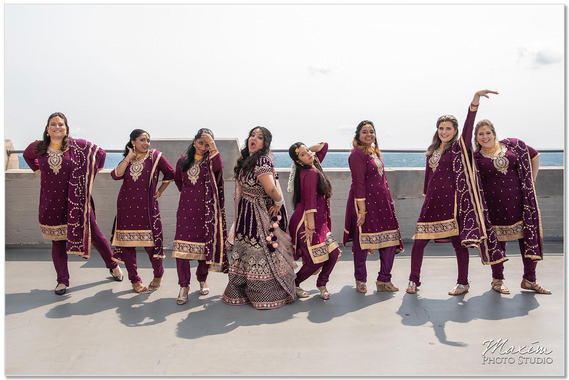 Hilton Netherland Plaza Indian Wedding Bridesmaids