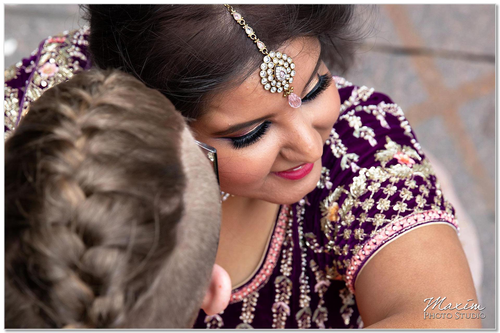 Fountain Square Cincinnati Indian Wedding bride
