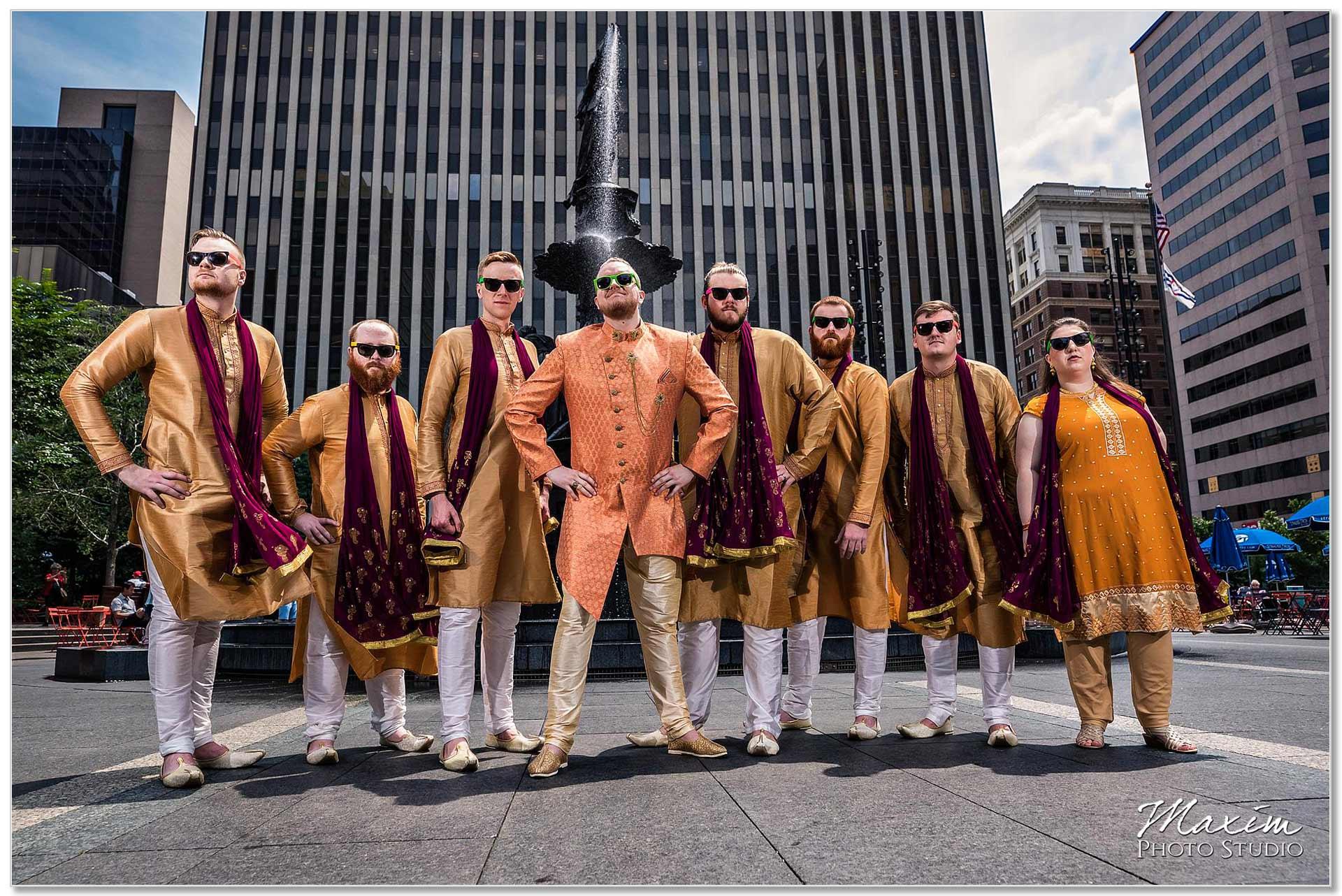 Fountain Square Cincinnati Indian Wedding Groomsmen