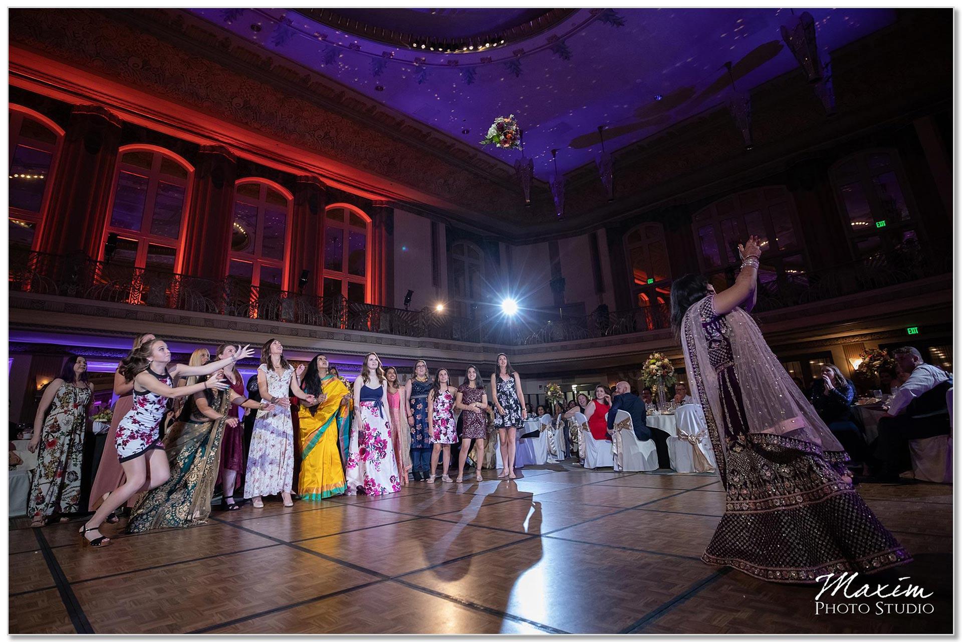 Hilton Netherland Plaza Hindu Wedding Reception Bouquet Toss