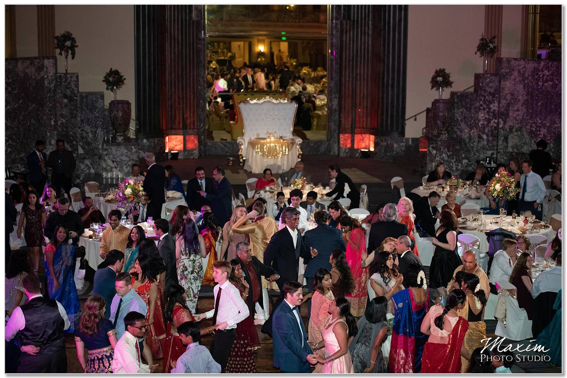 Hilton Netherland Plaza Hindu Wedding Reception dancing fun