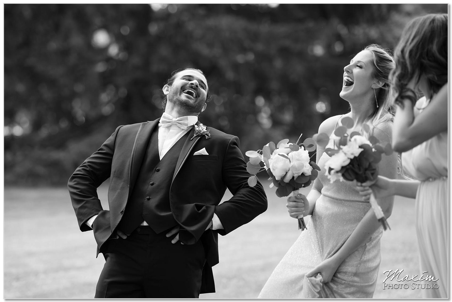 Bridesmaid groomsmen laughing Polen Farm
