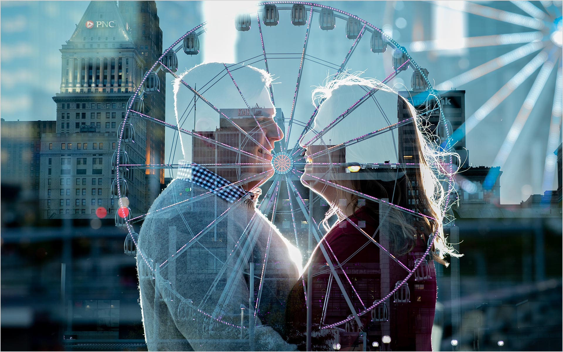 Double Exposure Cincinnati engagement SkyStar