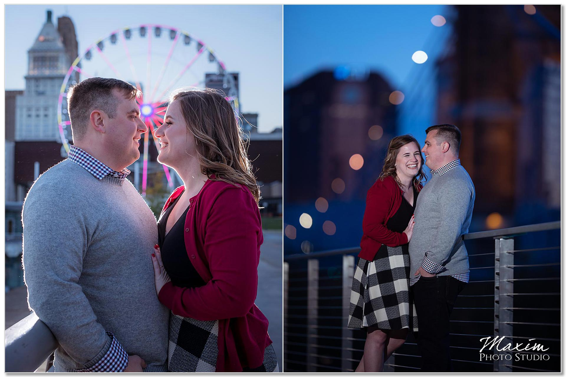 Nighttime Cincinnati engagement with SkyStar