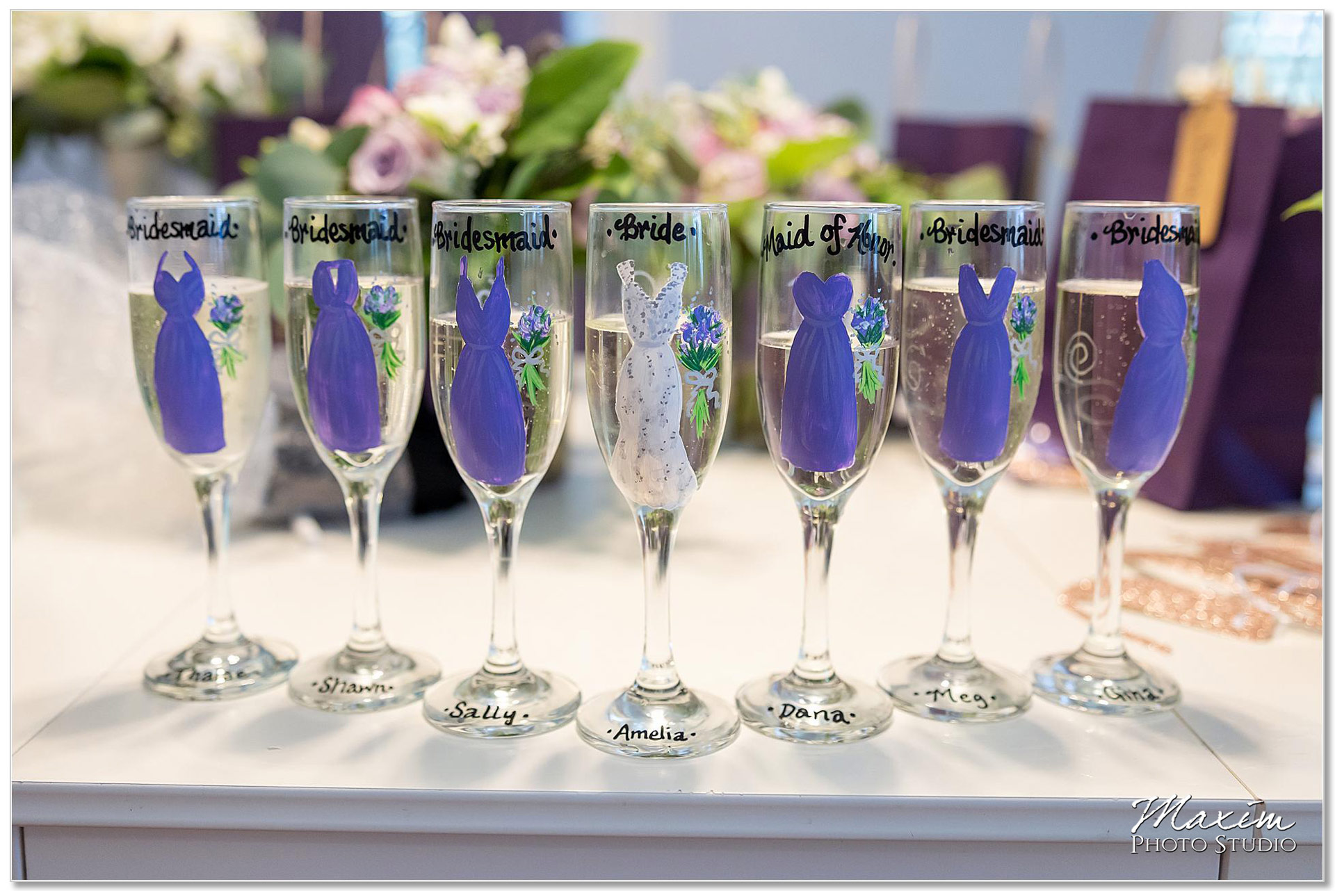 French House Cincinnati Bridesmaids champaign painted flutes