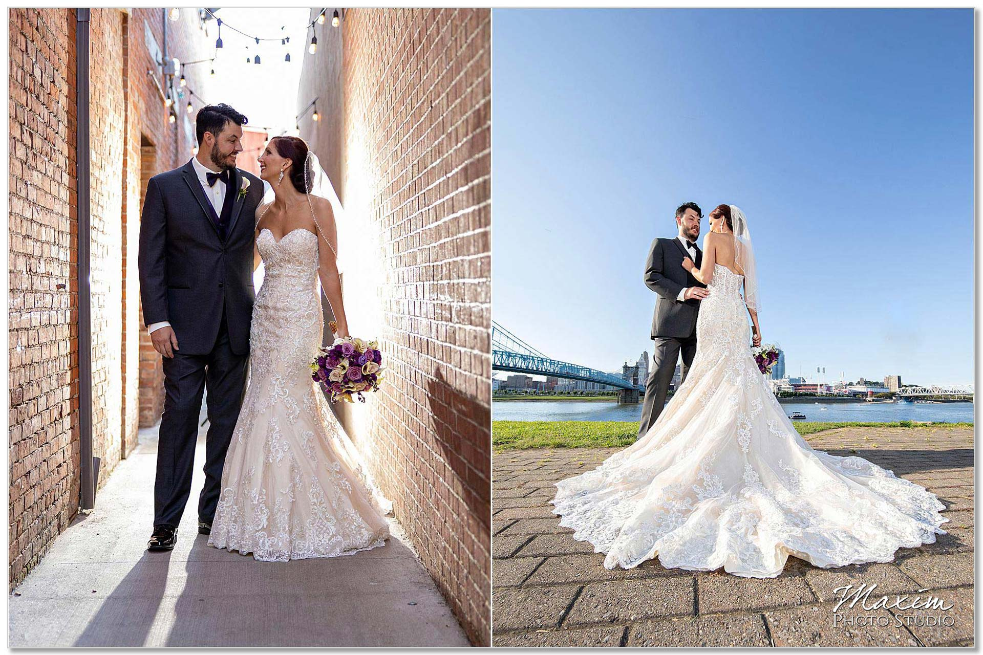 Bride groom Cincinnati skyline The Grand Ballroom