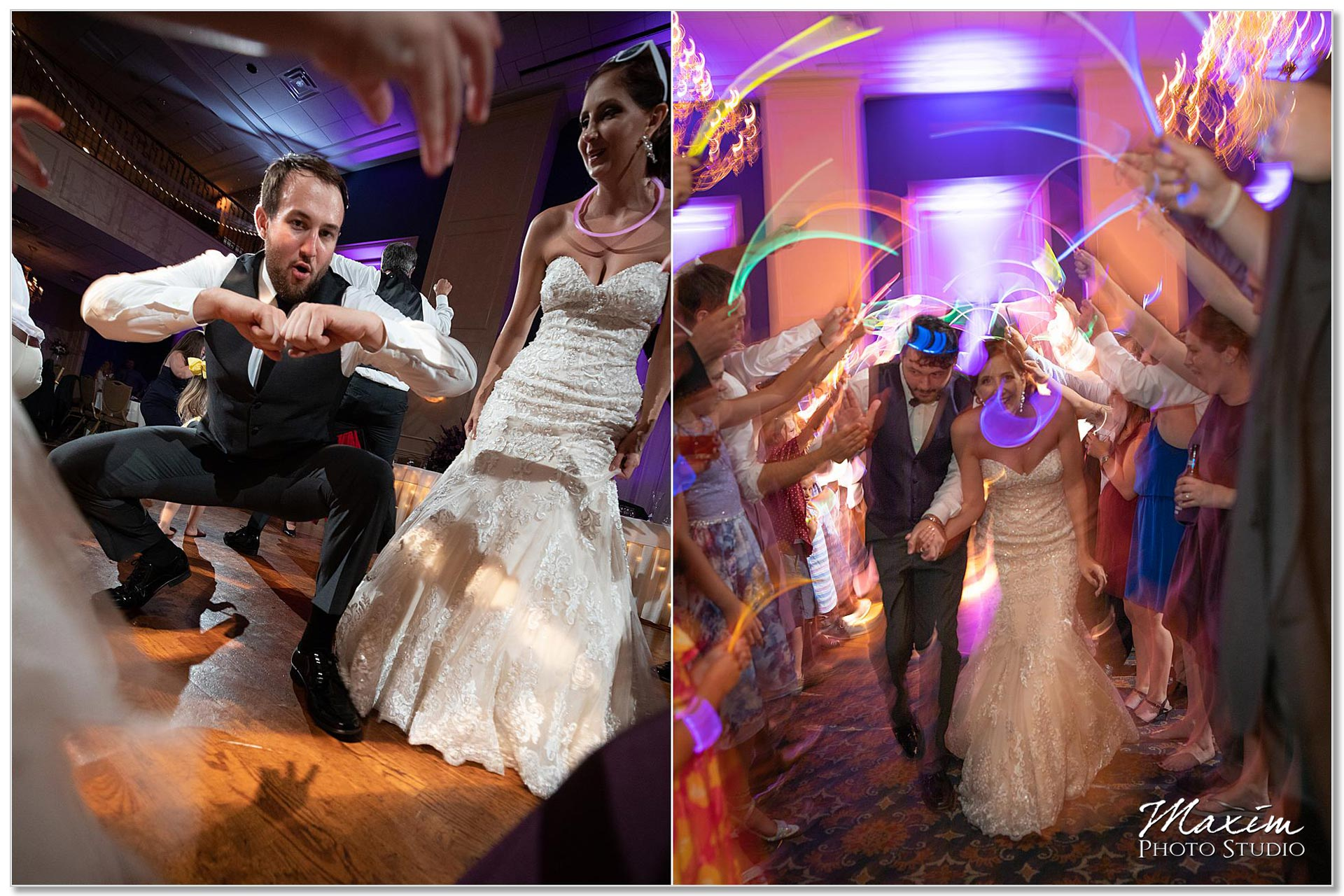 Glow sticks wedding reception exit