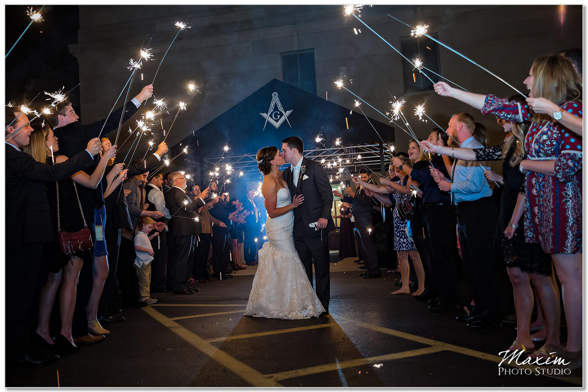 Dayton Ohio Masonic Center Wedding reception Sparkler Exit