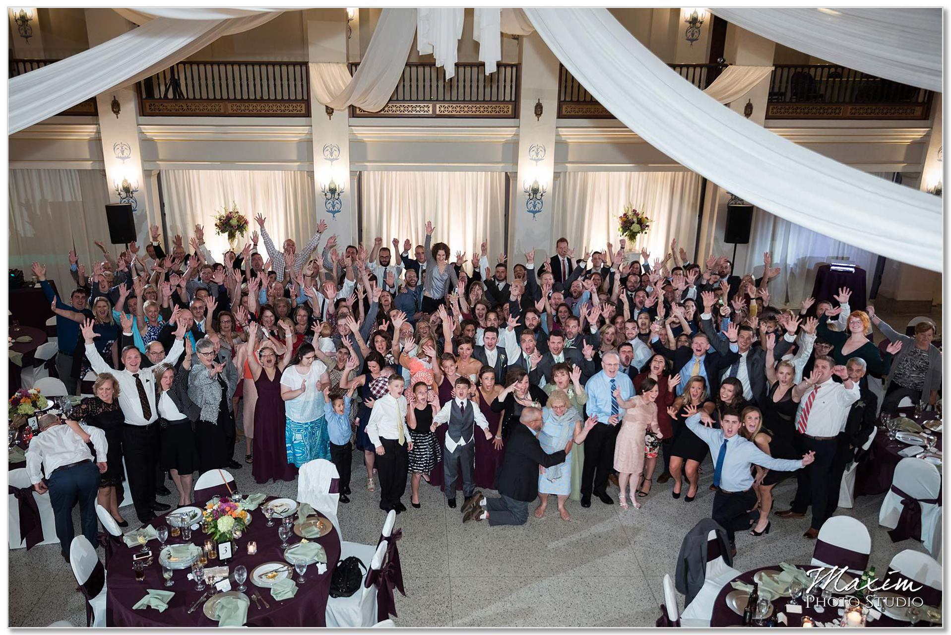 Masonic Center Dayton Ohio Wedding Reception Group Photo