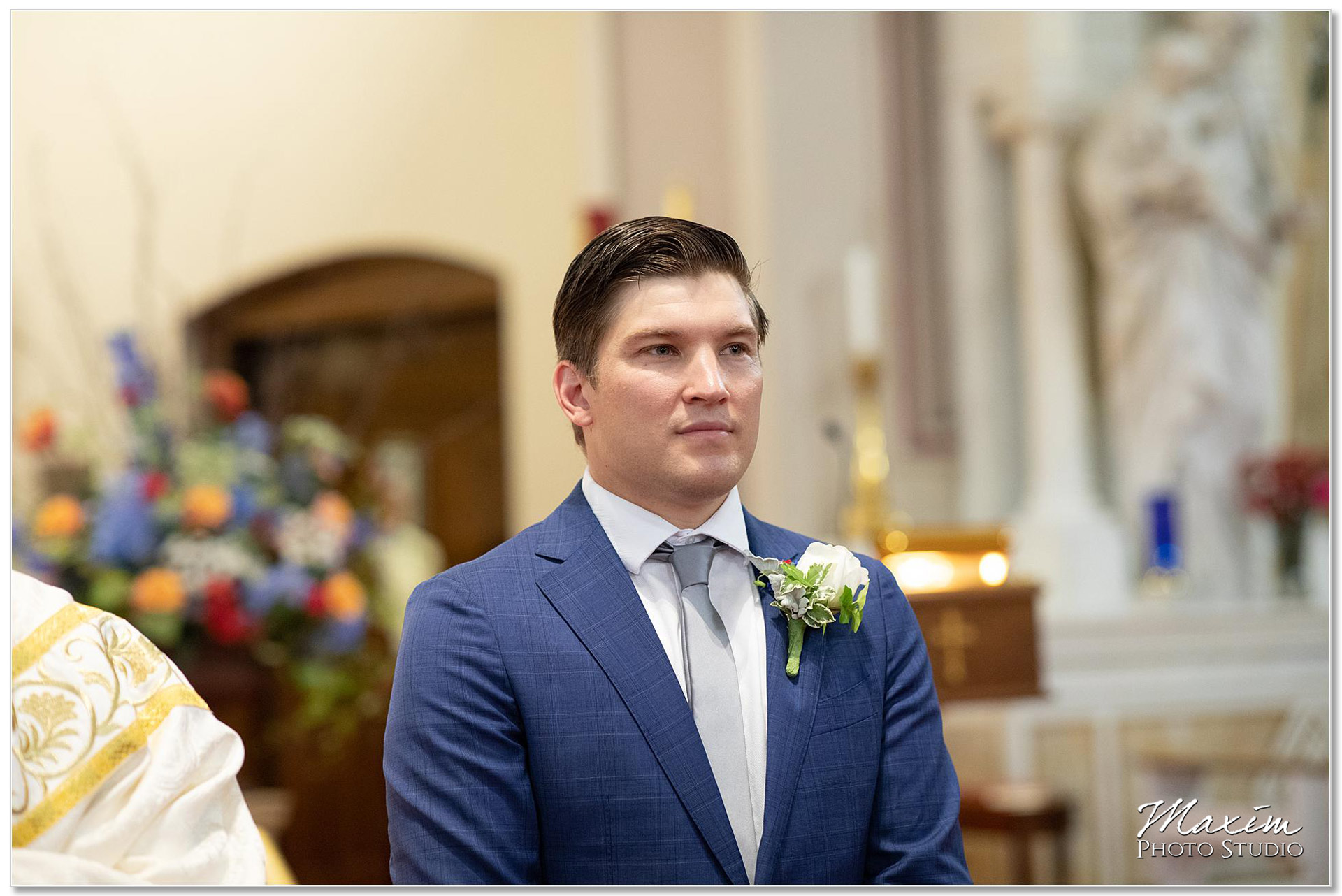 Groom at St. Joseph Catholic Church Ceremony