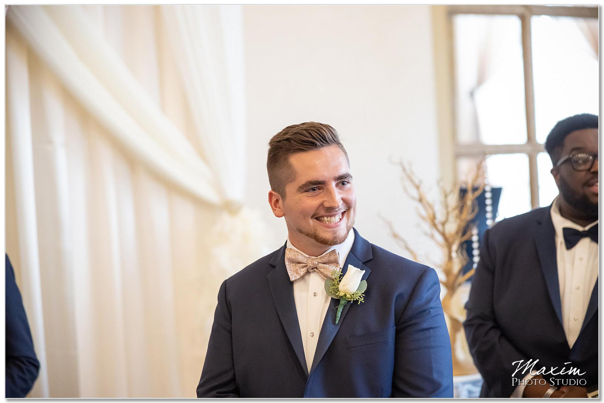 Groom looking at bride first time
