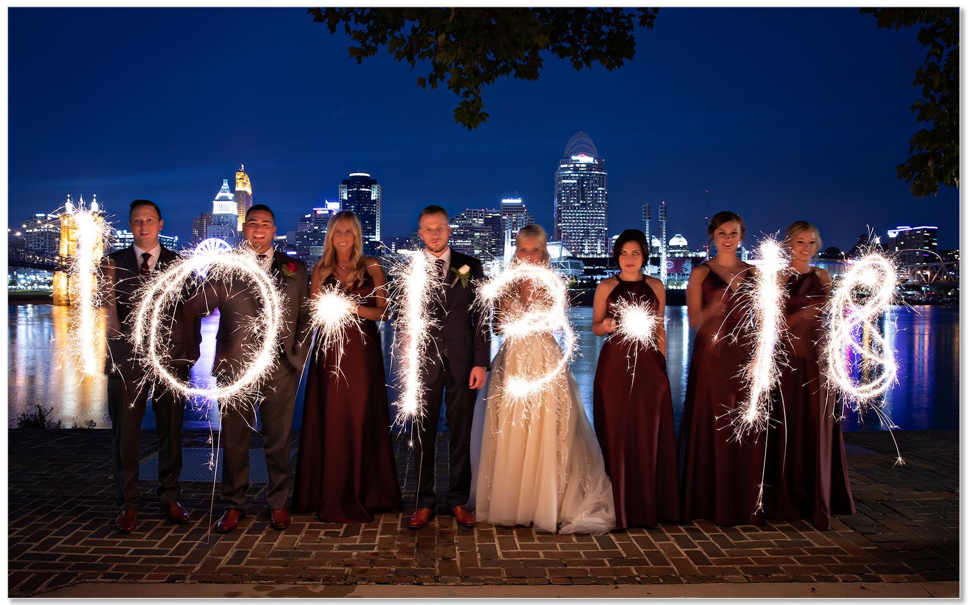 Cincinnati Mother of god wedding skyline sparklers